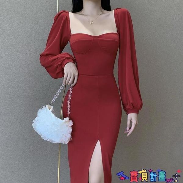 泡泡袖連身裙 復古宮廷風泡泡袖連身裙女歐美女裝設計感氣質開叉裙子 寶貝計畫