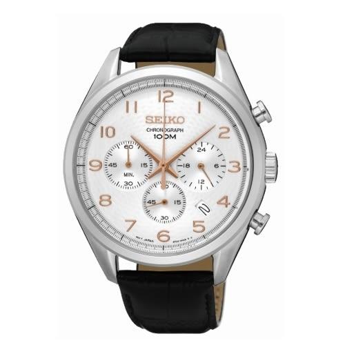 SEIKO CS優雅風格石英計時腕表/白x皮/8T63-00C0L/SSB227P1