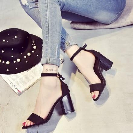 涼鞋 歐美絨面簡約氣質粗跟涼鞋 SHB1513 (購潮8)