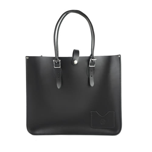 【The Leather Satchel Co.】英國原裝手工牛皮寬版托特包 手提包 肩背包 壓釦設計 精湛工藝 (火炭黑)