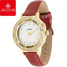 JULIUS 聚利時 蜜亞公主滿鑽立體鏡面皮帶腕錶-紅色/36mm 【JA-631C】
