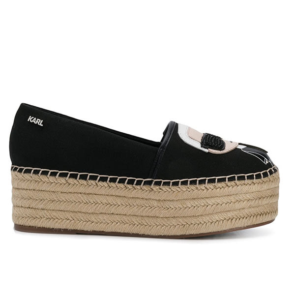 Karl Lagerfeld 卡爾 老佛爺 女鞋 IKONIK草編鬆糕鞋-黑