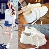 百搭小白鞋正韓白色帆布鞋休閒街拍布鞋厚底港風板鞋學生女鞋    夏季狂歡