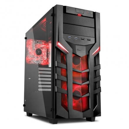旋剛 Sharkoon DG7000-G red 聖龍者 鋼化玻璃版(紅) 電腦機殼 PC機殼 電競機殼 電腦機箱【迪特軍】