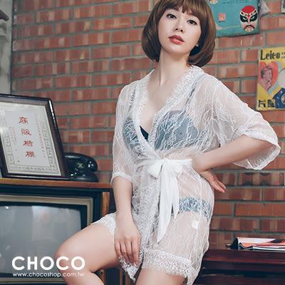 魅惑女爵‧高質感蕾絲睡袍(白色) Free Size Choco Shop