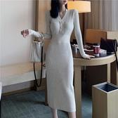 針織連身裙秋季復古收腰裙子打底裙修身V領針織長裙毛衣連身裙女裝 新年禮物