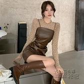 御姐女神范洋裝女秋冬韓版復古收腰洋氣設計感pu皮吊帶裙 雙十二全館免運
