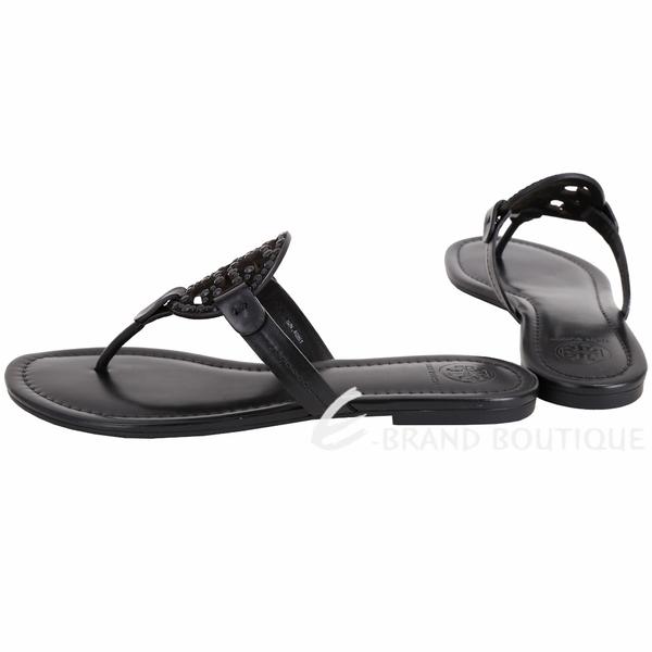 TORY BURCH Miller 鉚釘鑲嵌雙T飾夾腳涼拖鞋(黑色) 1840330-01
