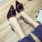 羅馬涼鞋女尖頭細跟高跟鞋百搭方扣淺口中空中跟單鞋 俏腳丫