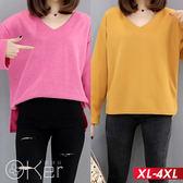小V領開岔前短後長寬袖針織上衣 XL-4XL O-ker歐珂兒 159052-1-C
