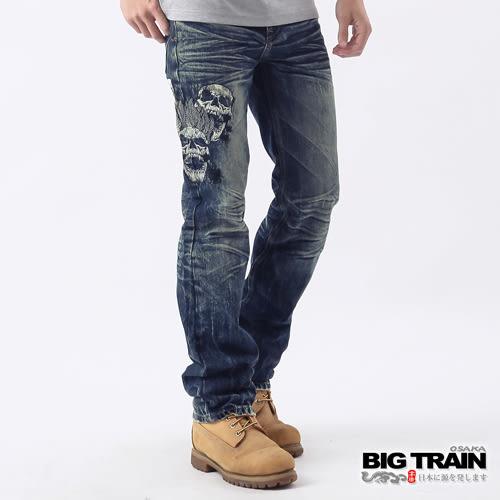 BIG TRAIN 惡童骷髏小直筒褲-男-中藍