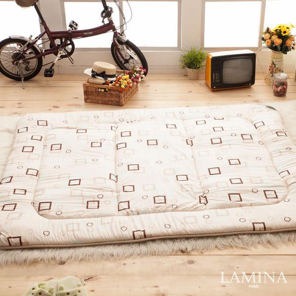 日式床墊;雙人5X6.2尺5cm【羊毛方塊-米色】純棉/羊毛;LAMINA台灣製