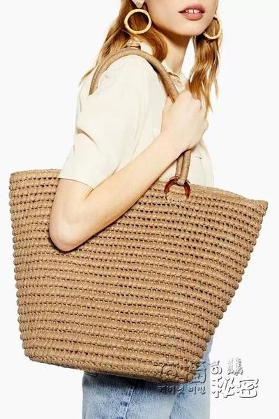 草編包女ins歐美簡約時尚單肩手提大容量夏季度假沙灘包編織包 衣櫥秘密