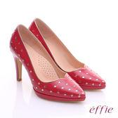 effie 摩登美型 鏡面牛皮金箔愛心窩心高跟鞋  桃粉紅