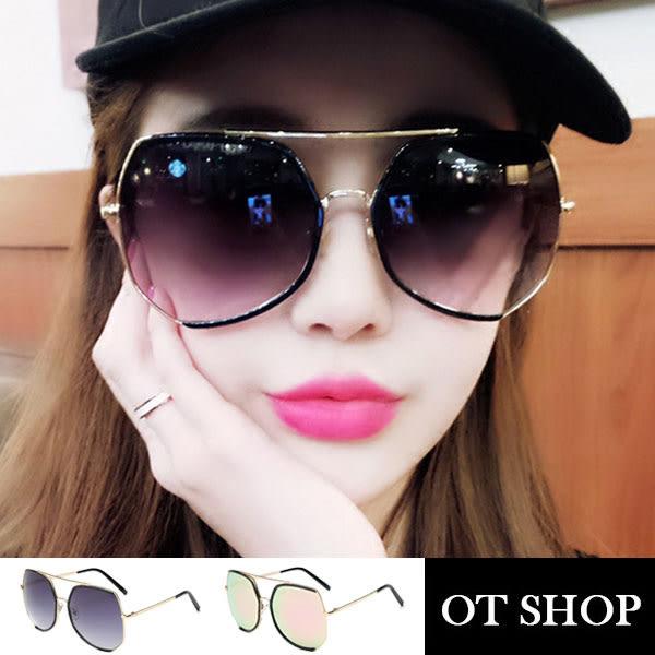 OT SHOP太陽眼鏡‧歐美韓系復古顯小臉特大框時尚抗UV400墨鏡‧黑灰色/玫瑰金‧現貨兩色‧Q24