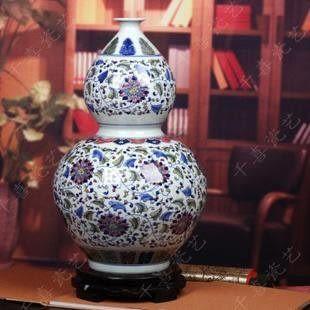 景德鎮青花瓷 富貴連藤葫蘆瓶