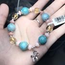『晶鑽水晶』天然天河石+黃水晶+粉蛋白石 925純銀手鍊 招財 加強自信 情人節 生日禮物 附禮盒