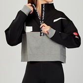 Nike Pro Get Fit 女子 黑灰 太空棉 半拉鍊 拼接 短版 長袖 CJ3467-010