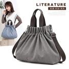 新款單肩包女包潮流百搭簡約時尚韓版手提包純色大容量帆布包 艾莎