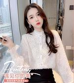 季甜美花邊拼接蕾絲衫女裝韓系新款時尚立領喇叭袖百搭開衫上衣 快速出貨
