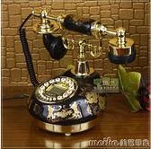 陶瓷復古電話機/仿古電話機/黑色經典固定電話座機igo 美芭