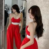 套裝 2021夏季新款 休閑運動 吊帶背心 時尚束腳 哈倫褲子 網紅 套裝兩件套女