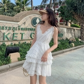 洋裝無袖 今年春夏新款小個子性感露背花邊蕾絲蛋糕連衣裙氣質顯瘦小洋裝【快速出貨】