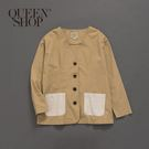 Queen Shop【02071089 】撞色多口袋拼接長袖外套 1/2*現+預*