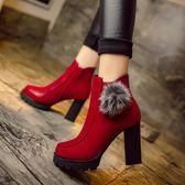 靴子 歐美靴子女短靴短筒黑紅粗跟休閒馬丁靴高跟鞋皮靴英倫風 酷我衣櫥