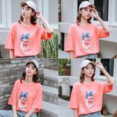 011#2019新款韓版短袖T恤女小豬圖案貼布寬松#T-BF-03日韓屋