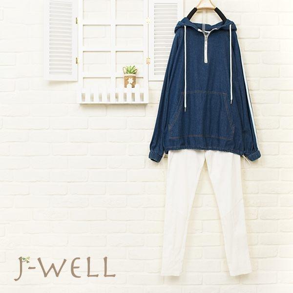 J-WELL 運動風丹寧帽T長褲二件組(組合684 8J1361+8W6298白M/L)