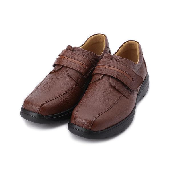 BONJO 真皮方頭魔鬼氈休閒皮鞋 紅棕 男鞋