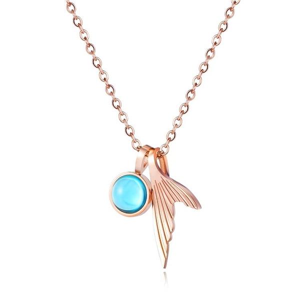 【5折超值價】時尚精美水晶魚尾造型女款鈦鋼項鍊