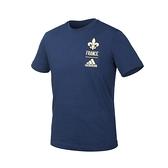 ADIDAS 男足球短袖T恤(純棉 亞規 休閒 上衣 法國 慢跑 愛迪達 免運 ≡排汗專家≡