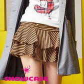 【SHOWCASE】拼接條紋蝴蝶結層次蛋糕裙(卡其)