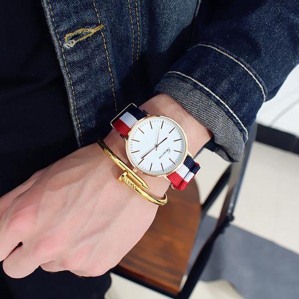 韓版簡約潮流時尚帆布帶手錶男女中學生條紋錶帶尼龍帶 聖誕節禮物大優惠