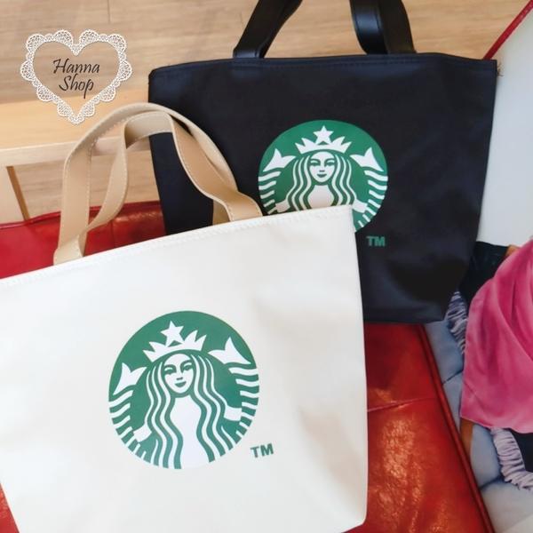 《花花創意会社》外流。星巴巴Starbucks質感皮革拼接杯套拉鍊尼龍側背包 黑/白【H7016】