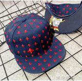 撲克梅花刺繡 潮男女 棒球帽平沿帽嘻哈帽子 流行花園