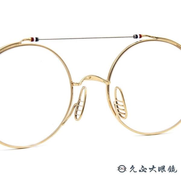 Thom Browne 眼鏡 雙槓 圓框 近視眼鏡 TBX910 金-銀 (49mm/41mm) 久必大眼鏡