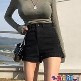 牛仔短褲 黑色高腰牛仔短褲女夏季薄款2021新款外穿顯瘦寬鬆a字闊腿熱褲潮 寶貝計畫 618狂歡