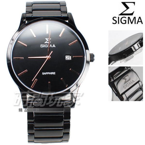 SIGMA 席格瑪 簡單時尚鋼帶腕錶 藍寶石水晶 日期視窗 IP黑電鍍x玫瑰金色 防水手錶 男錶 1737MLBRG