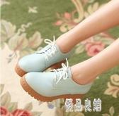 韓系甜美小清新系帶高跟皮鞋學生圓頭粗跟少女單鞋大碼休閒布洛克鞋 XN5073【優品良鋪】