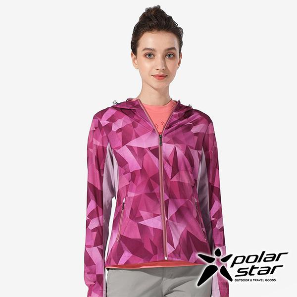 PolarStar 女 抗UV印花連帽外套『紅紫』 P20106 戶外 休閒 露營 防曬 透氣 吸濕 排汗 彈性 抗紫外線