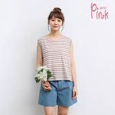 Pink*多彩橫條舒適背心 R1304EQ