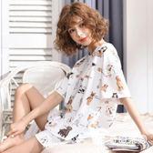 睡衣-夏季睡衣女套裝短袖兩件套純棉夏天可外穿寬松韓版清新學生家居服-奇幻樂園
