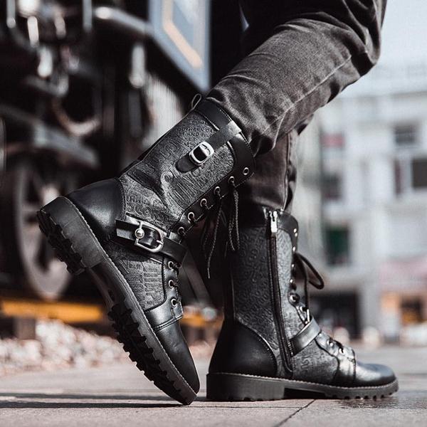 馬丁靴男棉鞋冬季黑色潮流韓版男士皮靴中高筒工裝男靴子 韓國時尚週