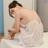 性感睡衣女新款透明白色情趣內衣騷短蕾絲露背吊帶睡裙 果果輕時尚