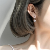925純銀耳環女氣質耳釘新款潮耳墜高級感耳圈網紅耳飾花耳扣全館免運