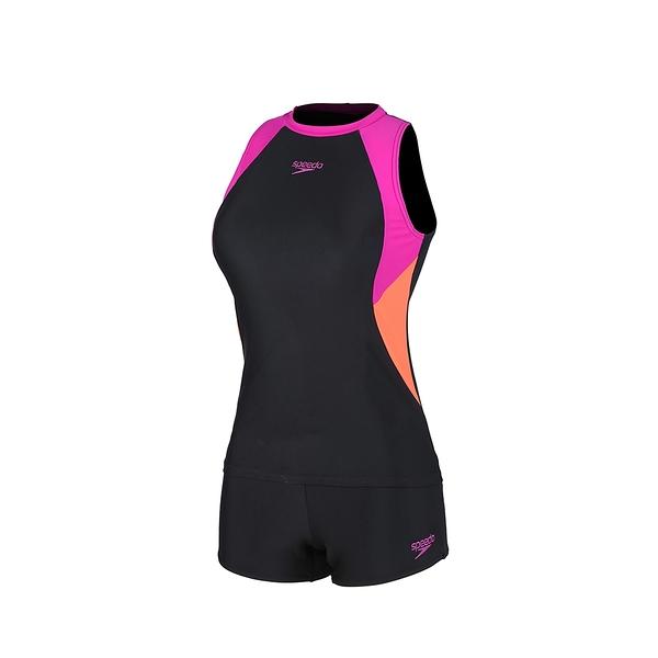 (C3)SPEEDO 女 運動泳衣 Boom Logo Splice 背心平口四角 兩截式泳裝SD812945G077黑灰粉 [陽光樂活]