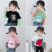女童長袖t恤兒童純棉上衣2020新款春款洋氣0童裝女寶寶春裝打底衫 快速出貨